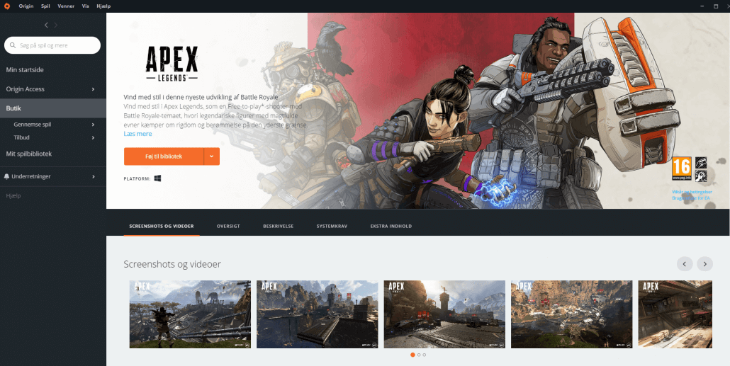 Origin Laucher Apex Legends